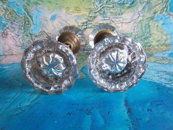 2 vintage crystal doorknob sets for decor and projects No. 1