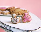Animal Cookies Earrings - Pink And White - Cookie Collection