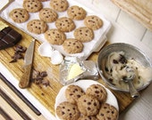 Miniature Cookie Preparation Board - American Chocolate Chip - 1/12 Dollhouse Scale Miniature Food