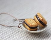 Cookie Earrings on Brass - Chocolate Cream Sandwich Cookies - Cookie Collection