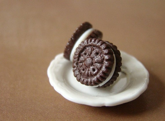 Oreo Earrings - Miniature Food Jewelry - Cookie Collection