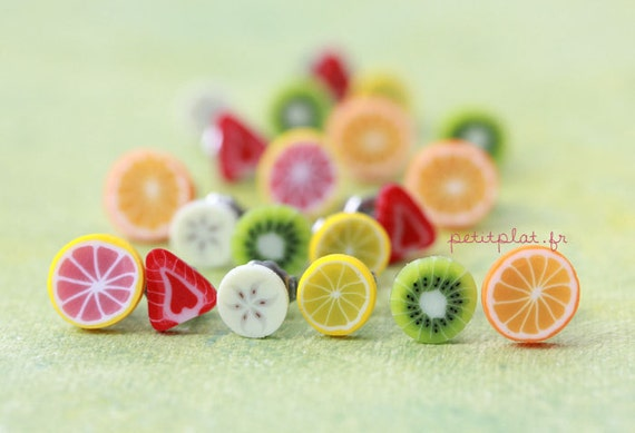 Fruit Slice Post Earrings - Colorful Fruit Salad - Healthy Collection