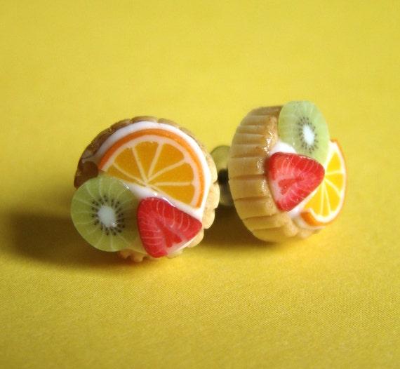 SALE - 37,5% was 16 now 10 - Fruit Tart Earrings - Tropical Feeling - S - Fruit Tart Collection
