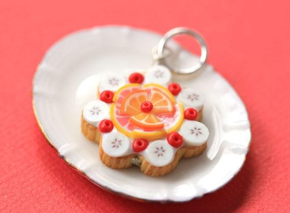 Fruit Tart / Pie / Cake Pendant - Orange, Grapefruit, Banana and Cherries - Fruit Tart Collection - SALE