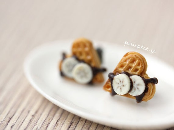 Waffle Earrings Chocolate and Banana - Miniature Food Jewelry