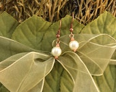 Tiny Copper Pearl Earrings, Wire Wrapped Ivory Pearls, Glass Pearls, Copper wire, FREE SHIPPING