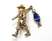 Vintage Coro Figural Fisherman Scatter Pin No.1