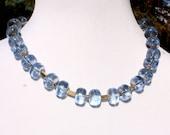 Vintage Lucite Blue Gold Glitter Necklace