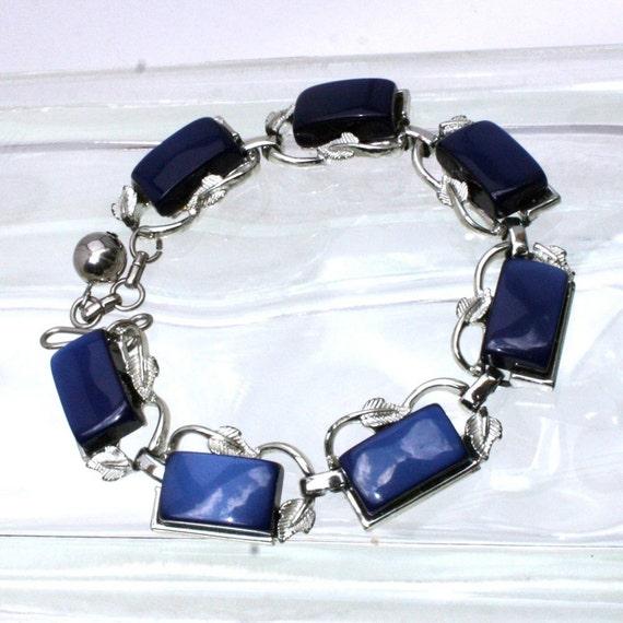 Vintage Blue Thermoset Lucite Link Bracelet