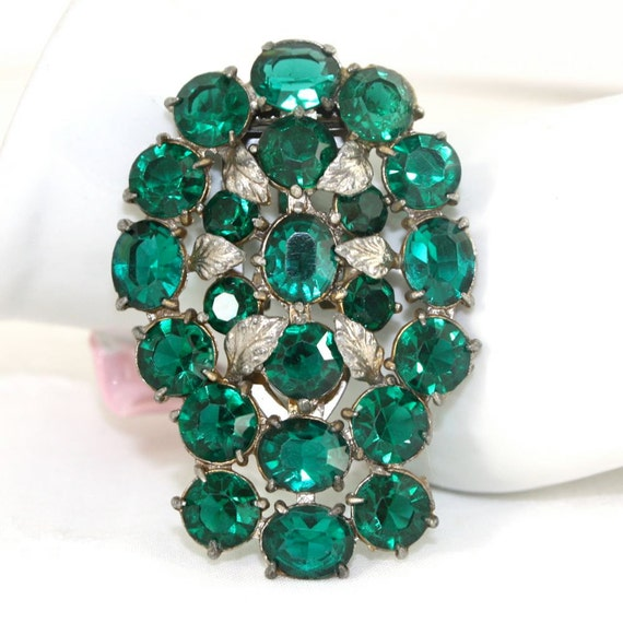 Vintage Emerald Rhinestone Dress/Fur Clip