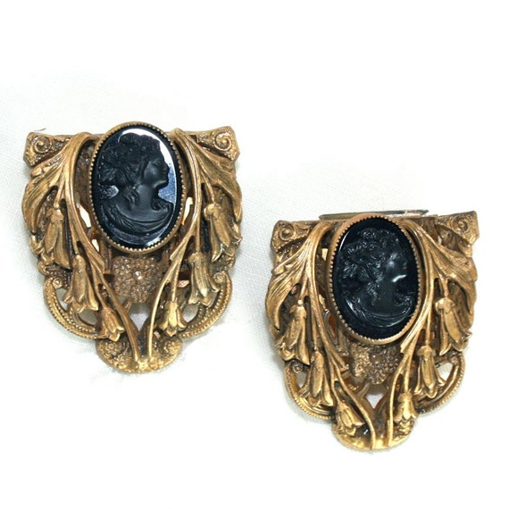 Vintage Art Deco Black Cameo Dress Clips