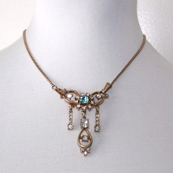 Vintage Rhinestone Pendant/Brooch Necklace