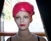 """Vintage 50s Hat Pink Velvet with Satin Ribbon Band at Side Unique Style with Chin Strap Head Size 22"""""""