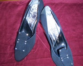 Vintage 60's Classic  Black Dress Heels Shoes Pumps with Rhinestone Decoration- 9 AA