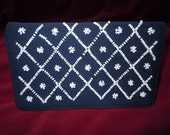 "Vintage 60's Navy Blue Linen and White Beaded Clutch Purse Classic Style 8"" x 5"""