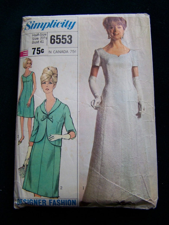 Vintage 1966 Simplicity Sewing Pattern Formal Dress in Two Lengths with Jacket Size 20 Bust 41