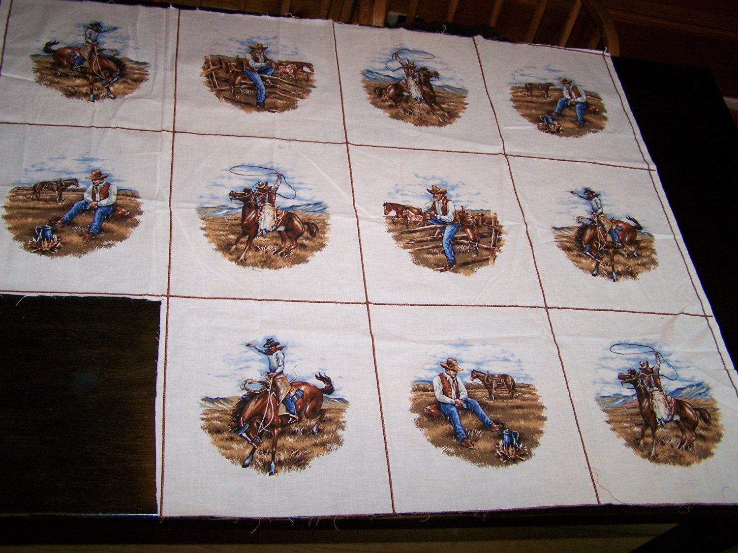 Vintage Cowboy Fabric Panels Set Of 11 Great For Pillows Or
