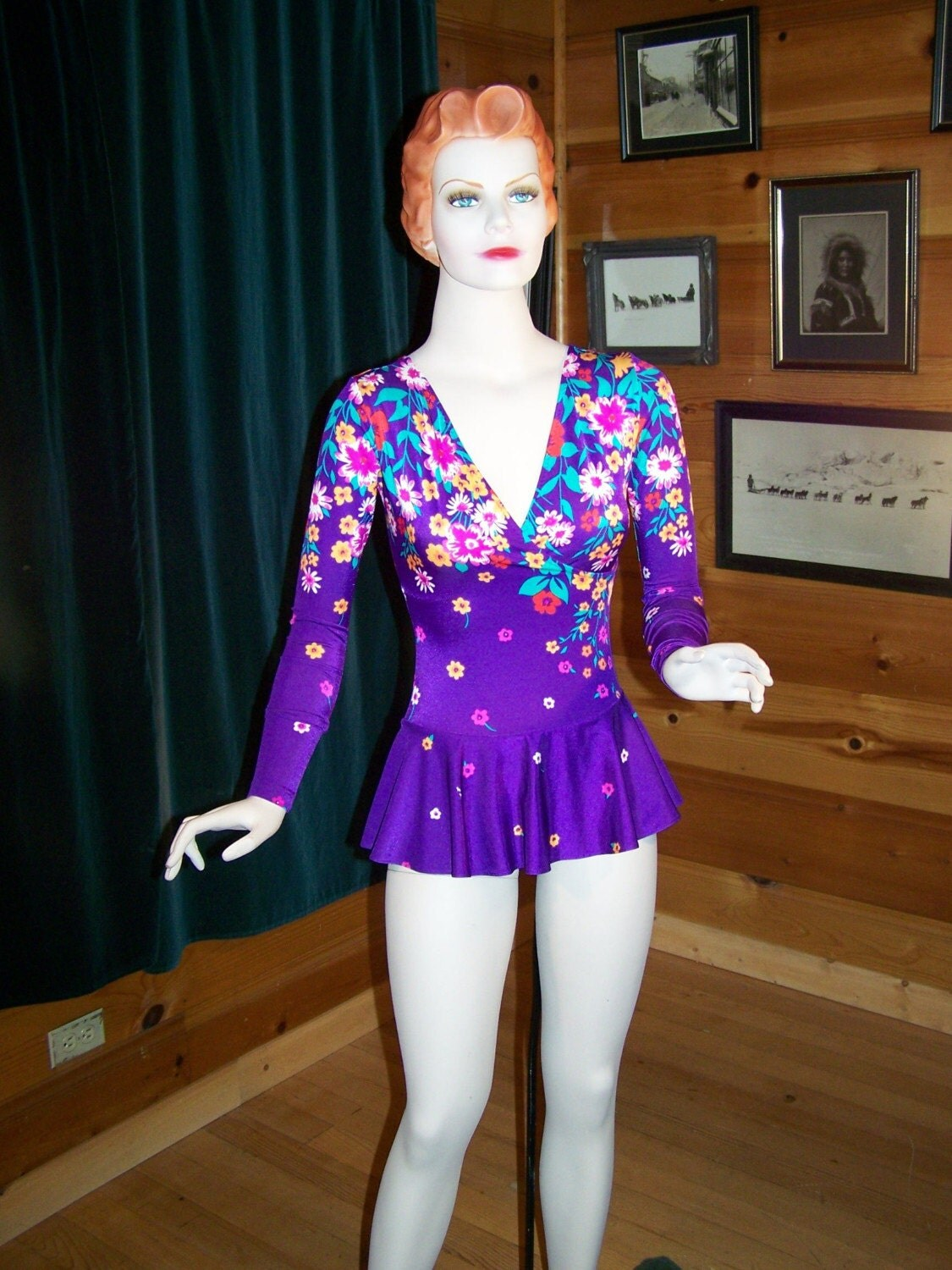 Vintage 70s Skating Costume Outfit Purple Floral with Skirt