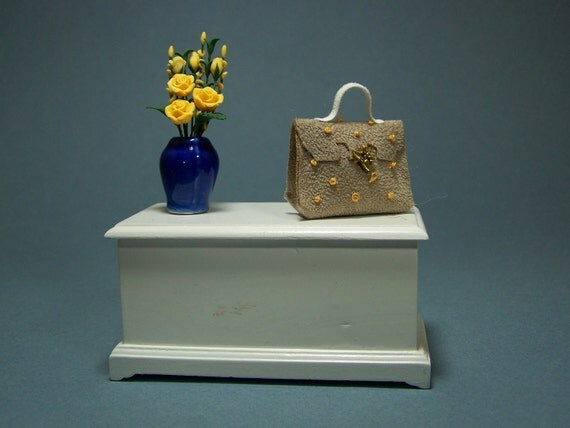 Beige Handbag / Purse / Bag with Dragonfly and yellow knots 1/12th scale miniature by CWPoppets