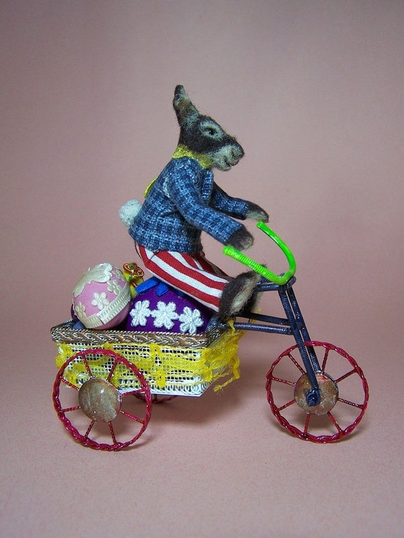 Easter Bunny on his bicycle - polymer clay miniature animal by CWPoppets