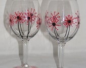 Hand painted dandelion/flower wine glasses, one pair