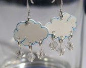 Tiny clouds and raindrops plastic earrings