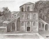San Vitale, original india ink drawing