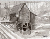 Grist Mill, original india ink drawing