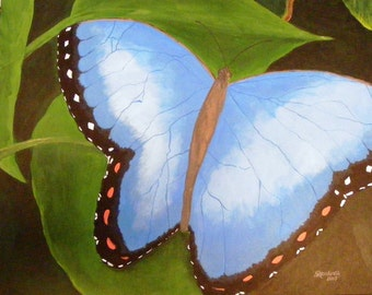 Blue Butterfly, original acrylic painting on canvas board