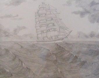 ship at sea, original pencil drawing