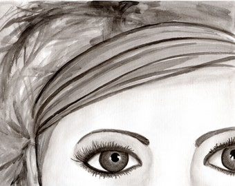 Girl with a headband--Original India ink drawing