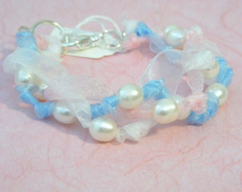 Organza ribbon and pearl bracelet