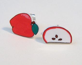Plastic Apple post earrings