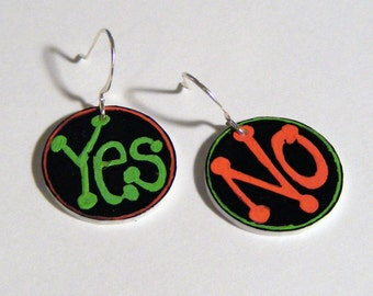 Yes and No plastic earrings