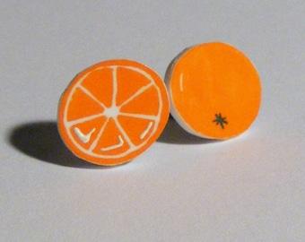 Plastic Orange post earrings