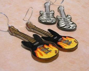 Plastic electric guitar earrings