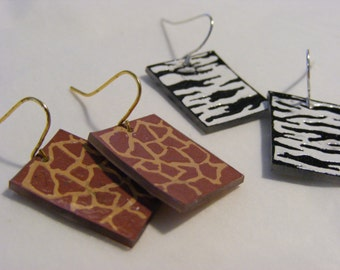 Plastic animal print earrings--1 pair in your choice of pattern