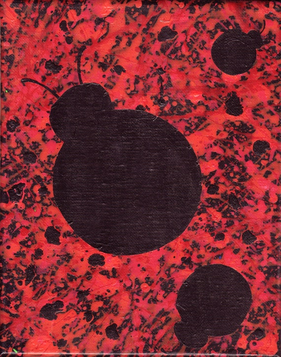 Ladybug splatter painting, original acrylic painting on canvas