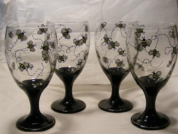 Custom hand painted Claret glasses, set of 4