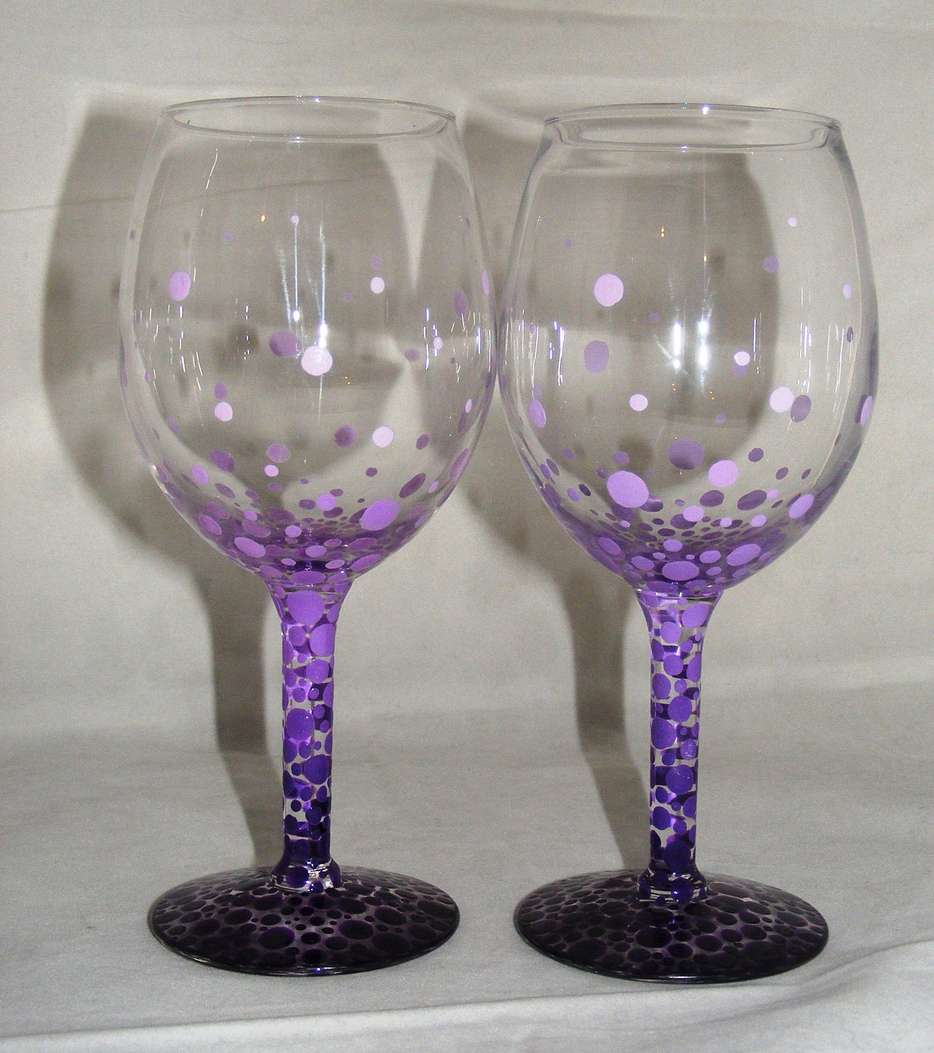 Hand painted wine glasses gradient purple bubbles 1 by Images of painted wine glasses