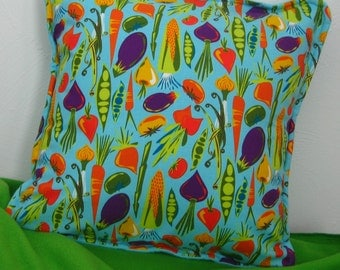 Pillow Cover, Hail to Veggies Pillow Cover, Garden Vegetables on Turquoise Pillow Cover