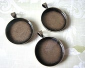 25mm  Deep Antique Brass Blank 10 Pendant Circles Round Trays Bezels Settings 1 inch 25 mm