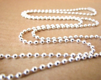 20  Shiny Silver Plated Ball Chains Necklaces 24 inches 2.4mm