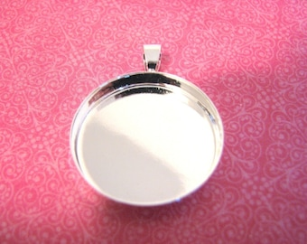 10 Silver Plated Bezels Round 25mm Pendant Trays