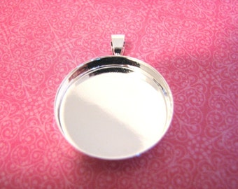 Fast Shipping!  100  DEEP Blank Pendant Circles Round Trays Shiny Silver Plated Bezels Settings 1 inch 25mm 4mm Deep