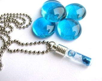 10 DIY Tube Bottle Glass Vials Pendants Necklace 28mm Charms Jewelry Craft Kit Stopper Beads  Supplies Kawaii Rice Jewelry MIni Miniature