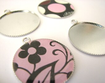 10 Silver Toned Round Thin Bezels Pendant Tray Setting 25mm