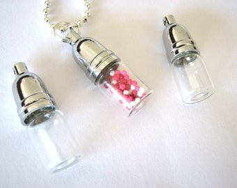 15 Empty Clear Glass Bottles Jars Vials Pendants