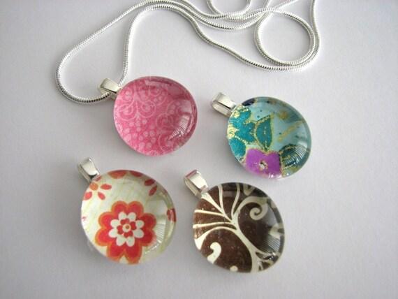10 Glass Bubbles Pendants Necklaces Kit  10 Cabochons .....  10 Small Aanraku Silver Bails