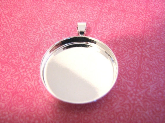 20  DEEP Blank Pendant Circles Round Trays Shiny Silver Plated Bezels Settings 1 inch 25mm 4MM Deep